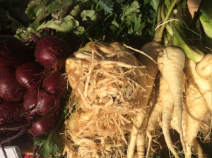 My favorite root chops...parsnips are on the right.